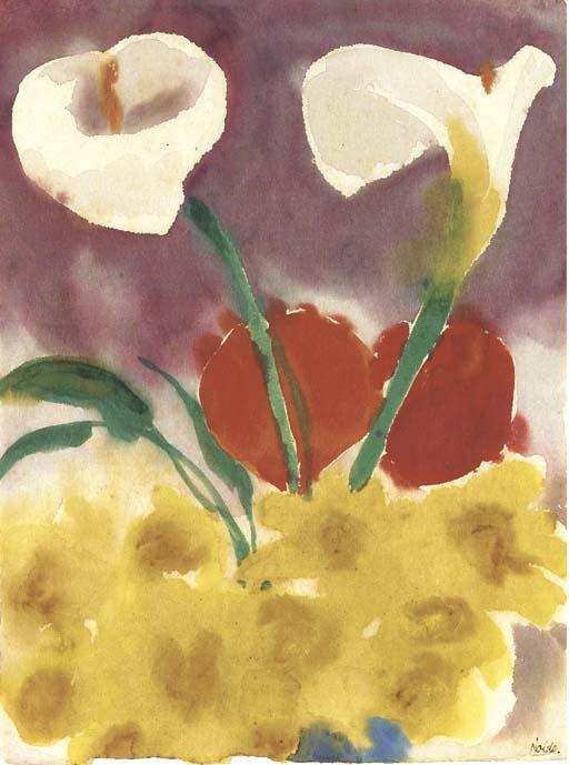 Daffodils and calla by Emile Nolde (1867-1956, Germany) | Museum Art Reproductions | ArtsDot.com