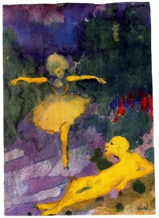 Dancer and Reclining Man by Emile Nolde (1867-1956, Germany) | ArtsDot.com