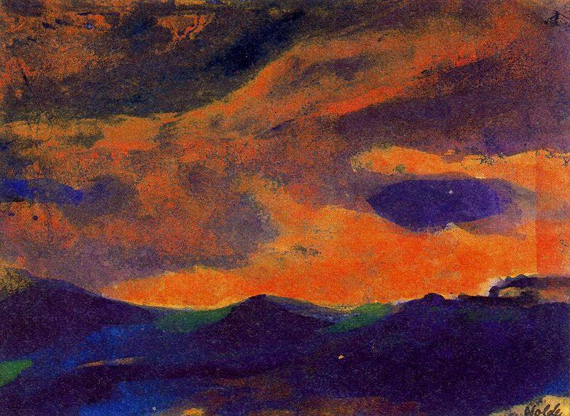 Dark Sea with Brown Sky by Emile Nolde (1867-1956, Germany) | Museum Quality Reproductions | ArtsDot.com