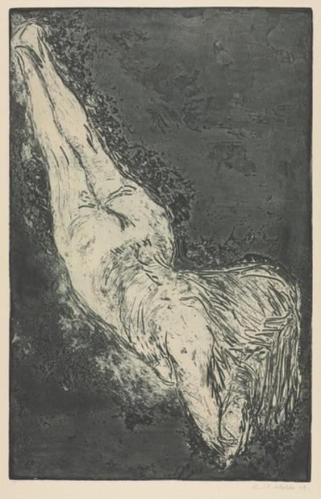 Diagonal Nude by Emile Nolde (1867-1956, Germany)