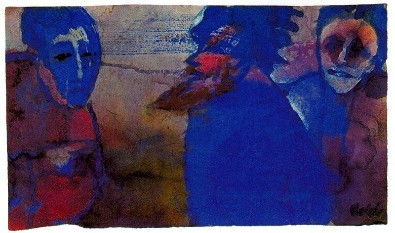 Discussion (Blue) by Emile Nolde (1867-1956, Germany)