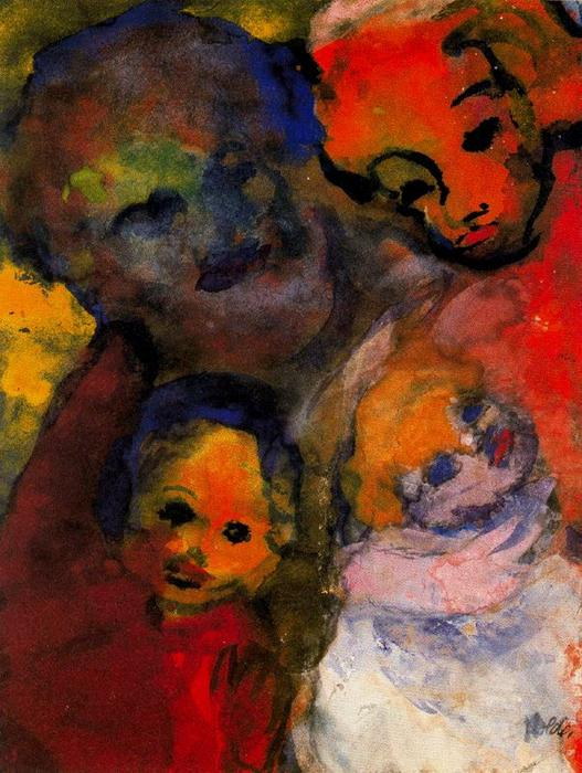 Family (with Two Children) by Emile Nolde (1867-1956, Germany)