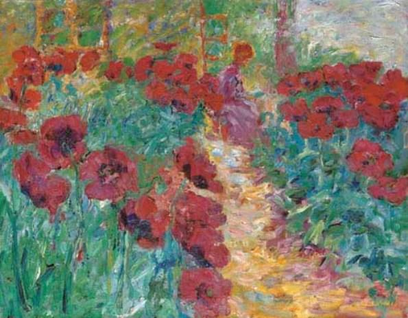 Flower garden, woman and poppies by Emile Nolde (1867-1956, Germany) | Museum Quality Reproductions | ArtsDot.com
