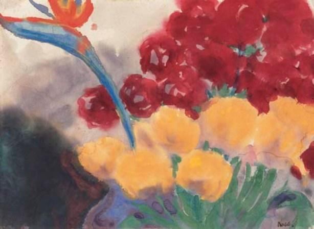 Flower still life with paradise bird flower (Strelizie) by Emile Nolde (1867-1956, Germany)