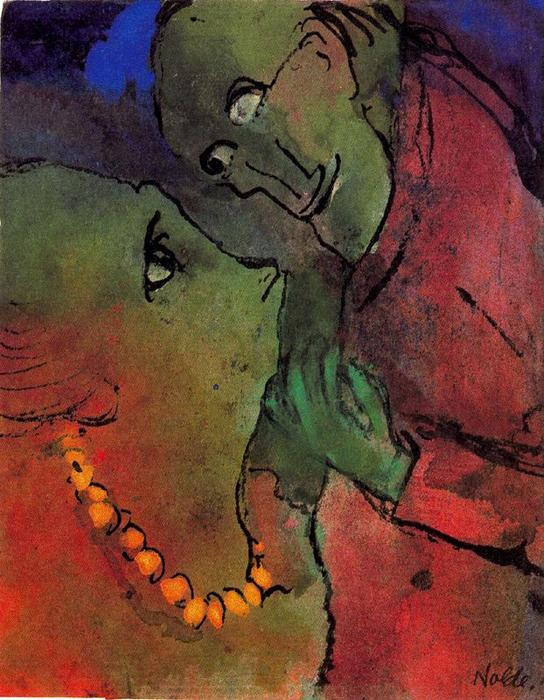 Frog-green Couple by Emile Nolde (1867-1956, Germany) | Oil Painting | ArtsDot.com