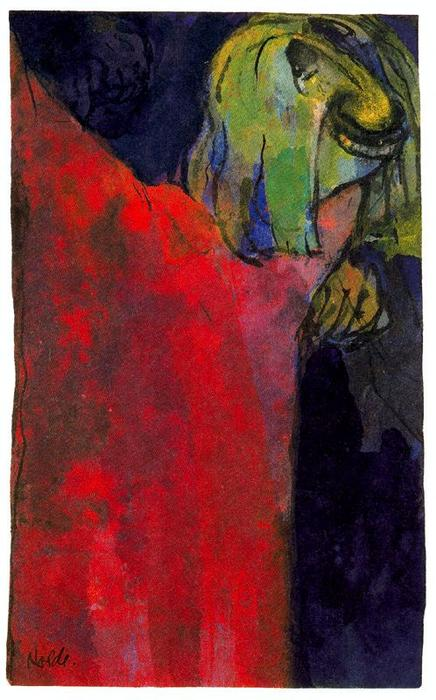 Green Head above Red Cloak by Emile Nolde (1867-1956, Germany)
