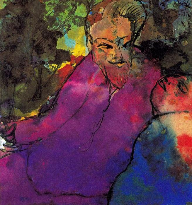Grotesque Couple by Emile Nolde (1867-1956, Germany)