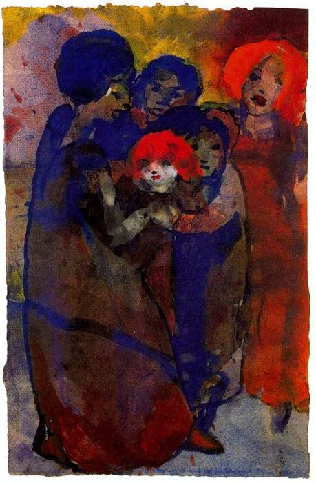 Group with Children by Emile Nolde (1867-1956, Germany)