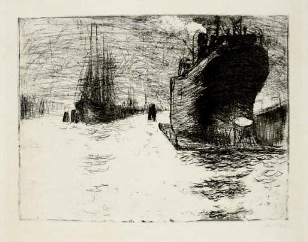 Hamburg, Reiherstiegdock by Emile Nolde (1867-1956, Germany)