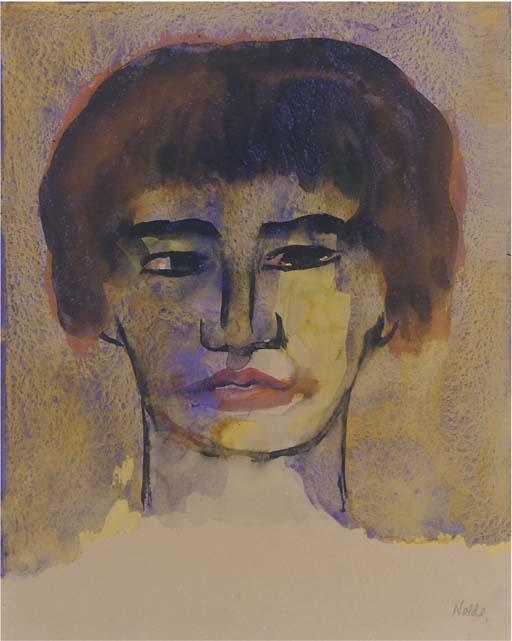 Head of a Woman (with short hair) by Emile Nolde (1867-1956, Germany)