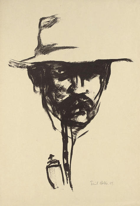 Head with pipe by Emile Nolde (1867-1956, Germany)