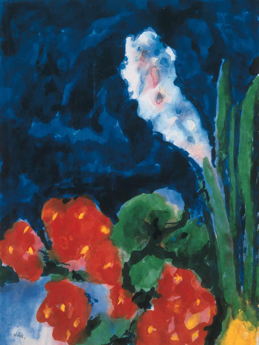 Hyacinth and begonia by Emile Nolde (1867-1956, Germany)