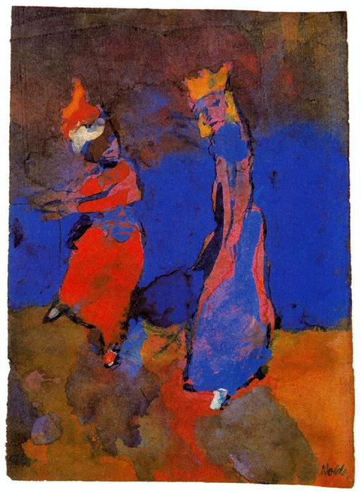 King and Dancing Woman by Emile Nolde (1867-1956, Germany)
