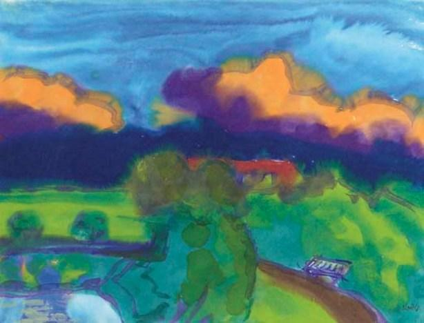 Landscape in Nordfriesland by Emile Nolde (1867-1956, Germany) | Museum Art Reproductions | ArtsDot.com