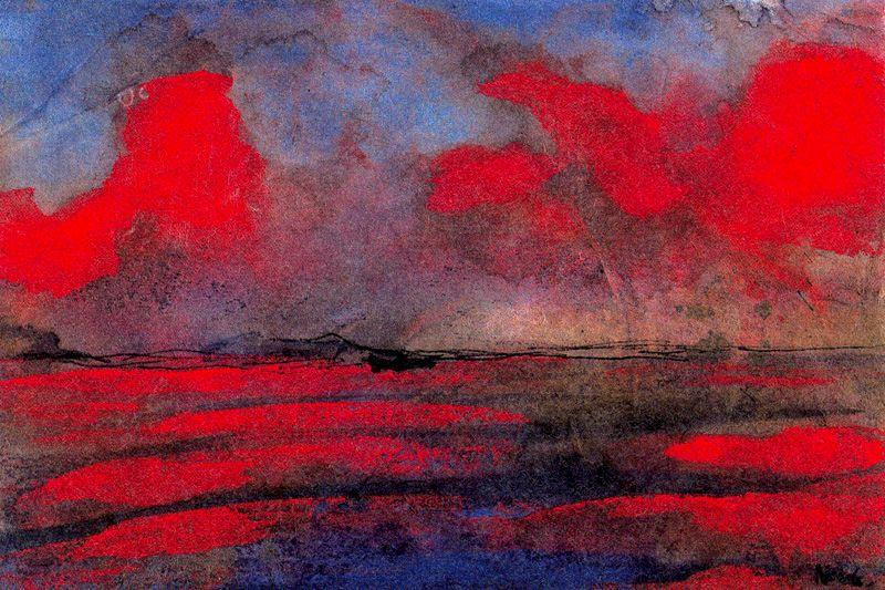 Landscape in Red Light by Emile Nolde (1867-1956, Germany)