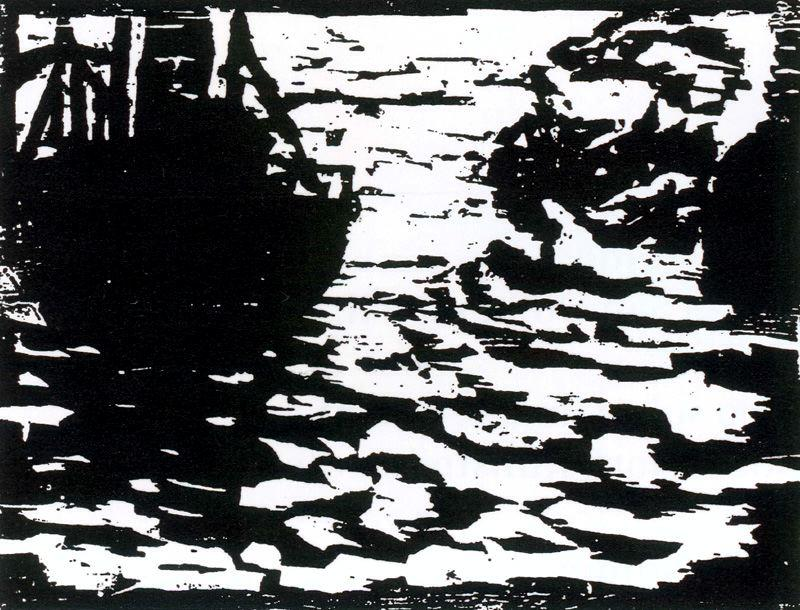 Large boats and small steam by Emile Nolde (1867-1956, Germany) | Museum Quality Reproductions | ArtsDot.com