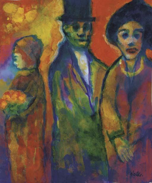 Man and two women 1 by Emile Nolde (1867-1956, Germany)