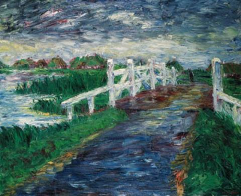 Marsh bridge by Emile Nolde (1867-1956, Germany)