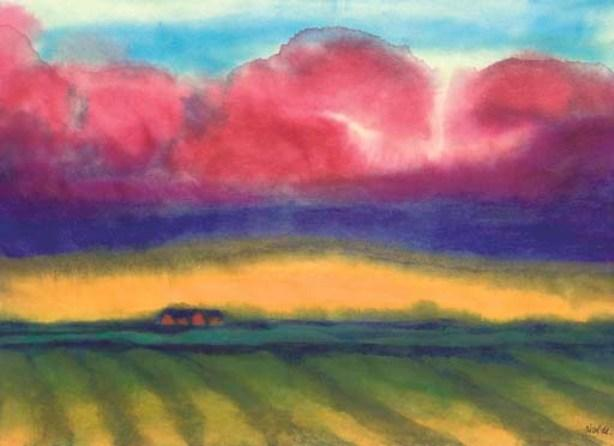 Marsh landscape with peasent houses by Emile Nolde (1867-1956, Germany) | Painting Copy | ArtsDot.com