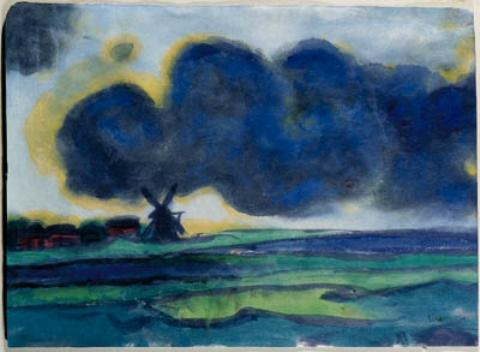 Marsh landscape with windmill 1 by Emile Nolde (1867-1956, Germany)