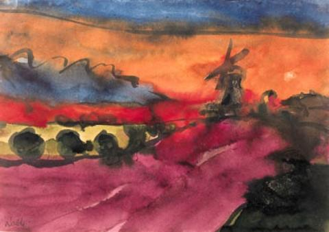 Marsh landscape with windmill by Emile Nolde (1867-1956, Germany) | Museum Art Reproductions | ArtsDot.com