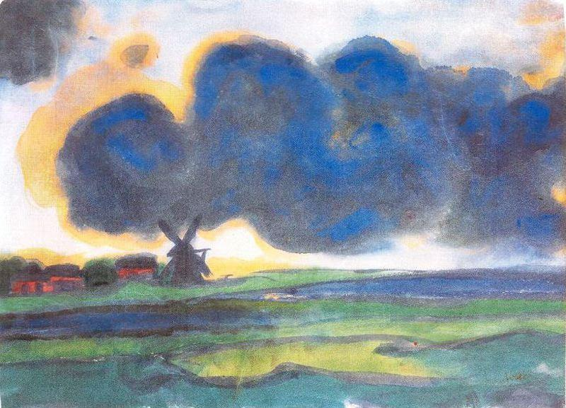 Marsh windmill by Emile Nolde (1867-1956, Germany)