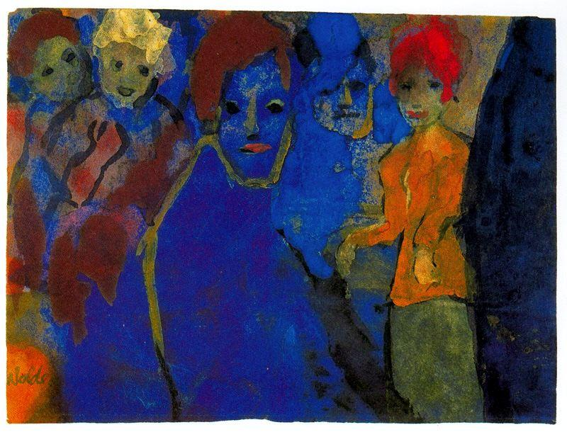 Men and Women (Blue and Red) by Emile Nolde (1867-1956, Germany)