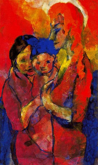 Mother with Two Children by Emile Nolde (1867-1956, Germany) | Art Reproduction | ArtsDot.com