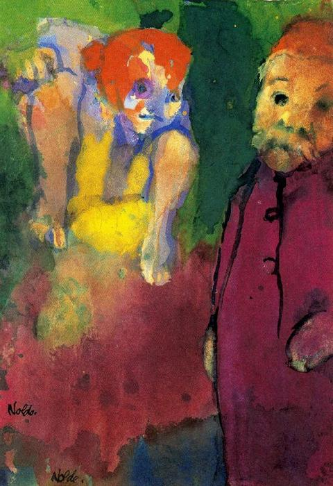 Old Man and Wood Gnome by Emile Nolde (1867-1956, Germany)