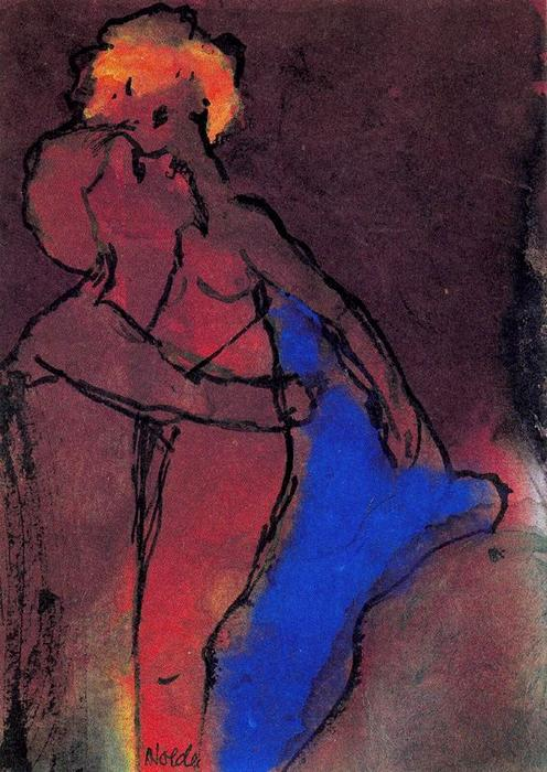 Reddish-brown Couple (Embracing) by Emile Nolde (1867-1956, Germany) |  | ArtsDot.com