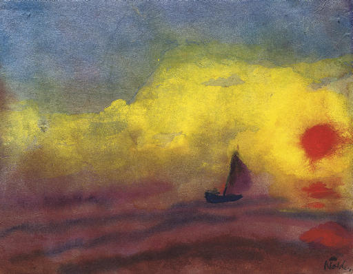 Sailors and sinking sun by Emile Nolde (1867-1956, Germany)