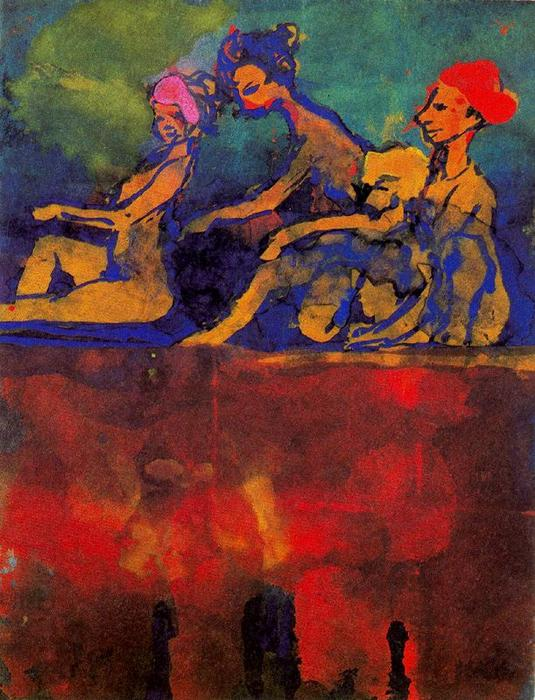 Scene with Four Figures by Emile Nolde (1867-1956, Germany) | Art Reproduction | ArtsDot.com