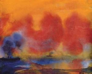 Emile Nolde - Sea and ship in the sunset
