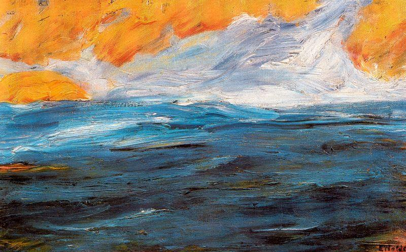 Sea in autumn by Emile Nolde (1867-1956, Germany)