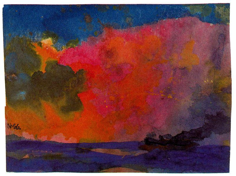 Sea with Colourful Sky by Emile Nolde (1867-1956, Germany) | Art Reproduction | ArtsDot.com