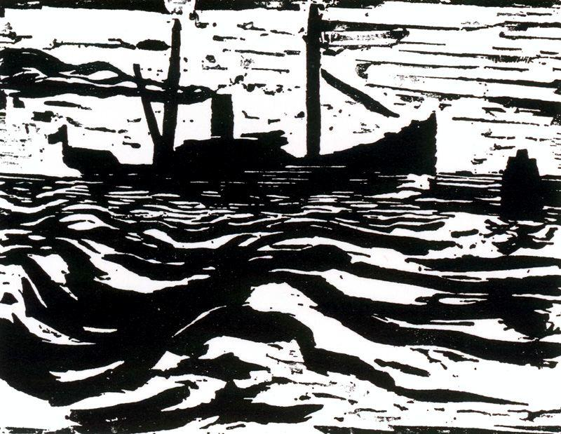 Steam trawler by Emile Nolde (1867-1956, Germany)