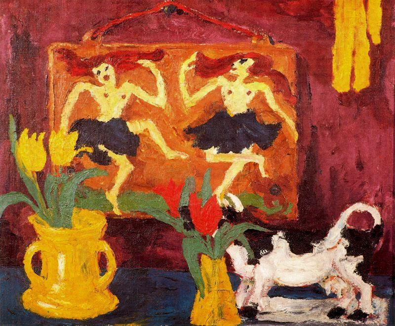 Still life with balerinas by Emile Nolde (1867-1956, Germany) | Oil Painting | ArtsDot.com