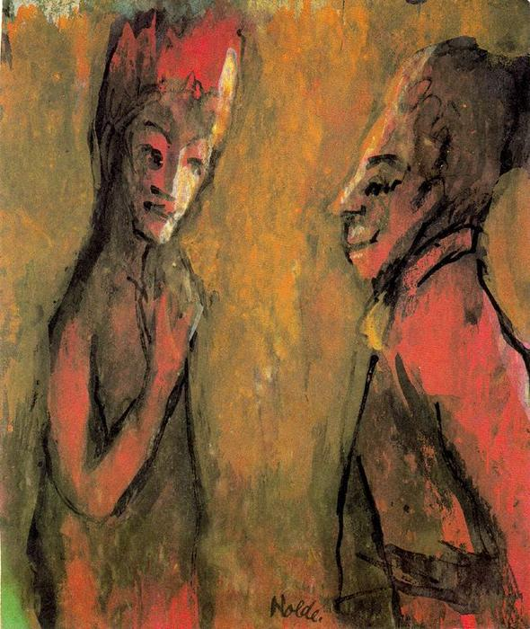 Strange Couple (Brown Ground) by Emile Nolde (1867-1956, Germany)