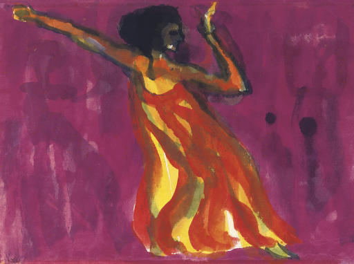 The dancer (Mary Wigman) by Emile Nolde (1867-1956, Germany) | Museum Quality Reproductions | ArtsDot.com