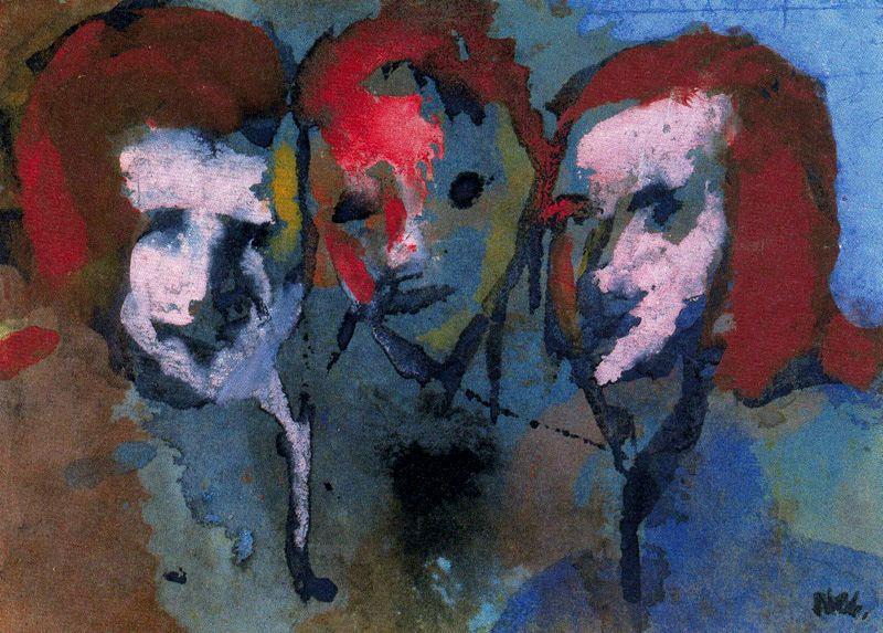Theree Heads by Emile Nolde (1867-1956, Germany)