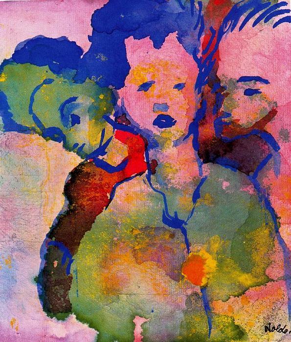 Three Young Women by Emile Nolde (1867-1956, Germany)