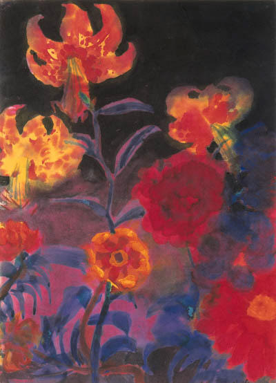 Tiger lilies and dahlias by Emile Nolde (1867-1956, Germany)