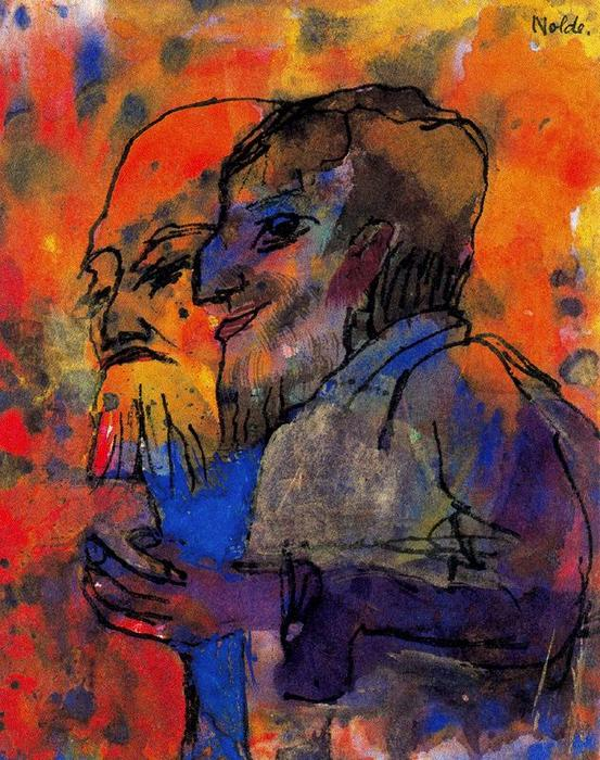 Two Bearded Old Men (in Profile) by Emile Nolde (1867-1956, Germany) | Museum Art Reproductions | ArtsDot.com