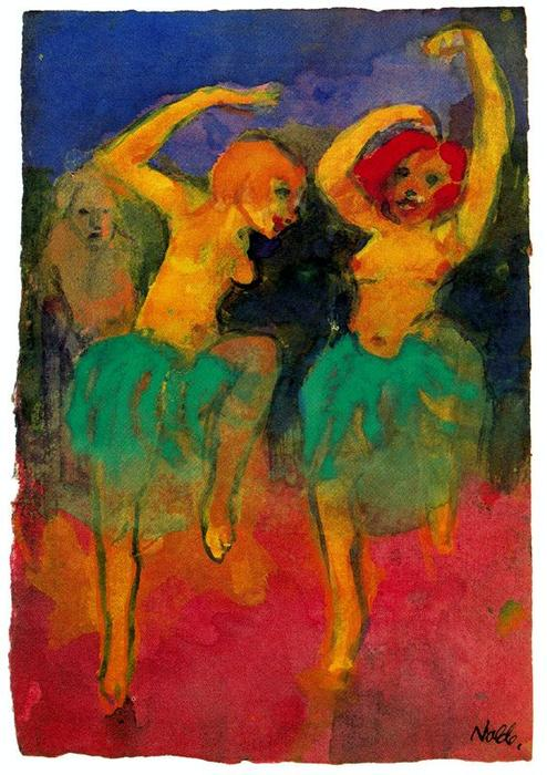 Two Dancers (redheard and Blonde) by Emile Nolde (1867-1956, Germany) | Art Reproduction | ArtsDot.com