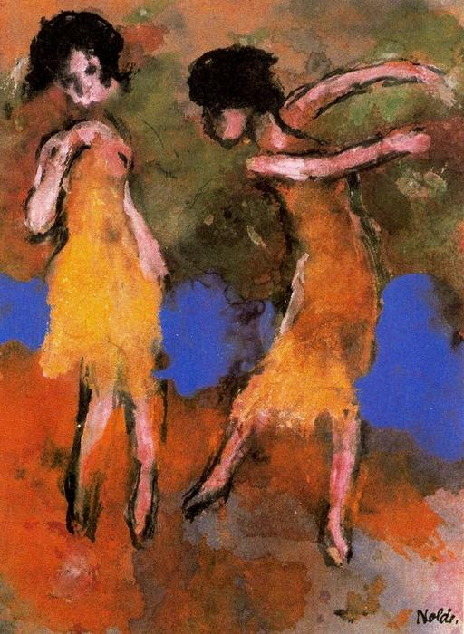 Two Dancing Girls by Emile Nolde (1867-1956, Germany) | Painting Copy | ArtsDot.com