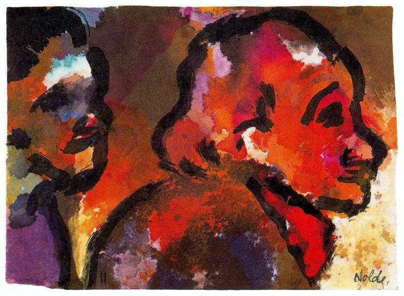 Two Heads (in Profile) by Emile Nolde (1867-1956, Germany)