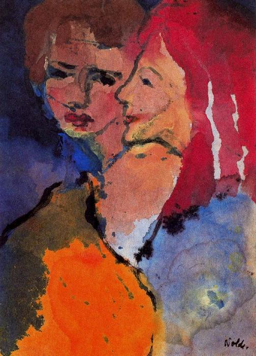 Two Ladies by Emile Nolde (1867-1956, Germany) | Museum Art Reproductions | ArtsDot.com