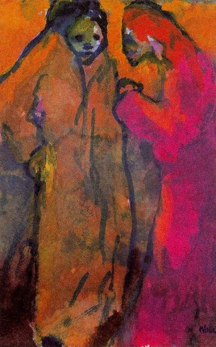 Two WOmen (Brown) by Emile Nolde (1867-1956, Germany)