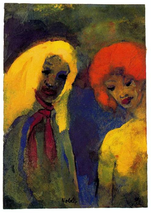 Two Women (Yellow and Red Hair) by Emile Nolde (1867-1956, Germany)
