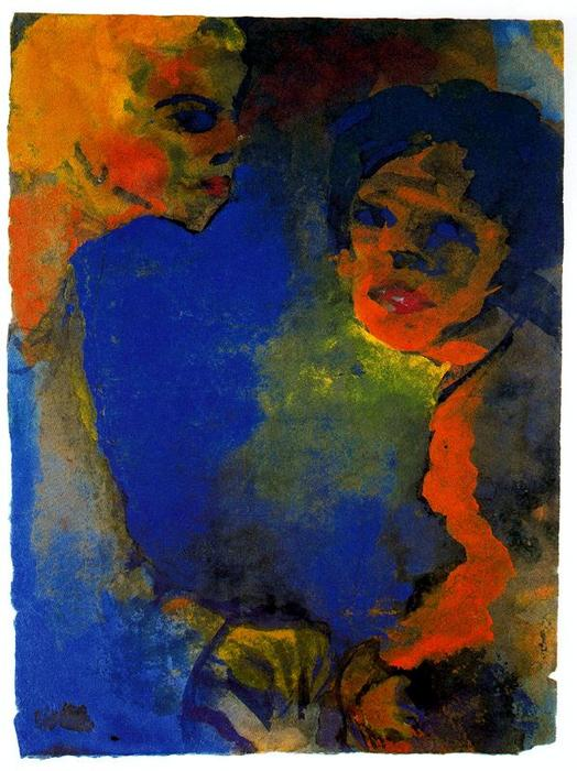 Two Women against a Blue Sky by Emile Nolde (1867-1956, Germany)
